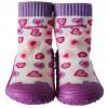 Chaussons-chaussettes enfant antidérapants semelle souple | Petits coeurs violets