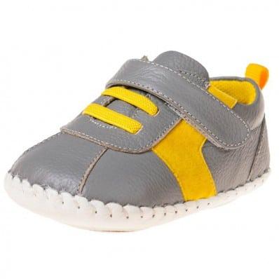 Little Blue Lamb - Chaussures premiers pas bébé en cuir souple | Baskets grises et jaunes