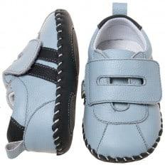 Little Blue Lamb - Krabbelschuhe Babyschuhe Leder - Jungen | Blaue Turnschuhe 2 Streifen