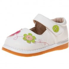 Little Blue Lamb - Squeaky Leather Toddler Girls Shoes | White flowers fushia and green