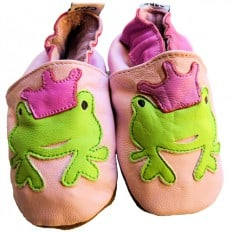 Soft leather baby shoes girls | Frog pink