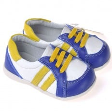 CAROCH - Krabbelschuhe Babyschuhe Leder - Jungen | Weiß blau mit streifen gelb sneakers