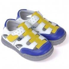 CAROCH - Krabbelschuhe Babyschuhe Leder - Jungen | Weiß blau gelb sneakers
