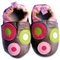 Zapitillas de bebe de cuero suave niñas antideslizante | Castaña con círculos