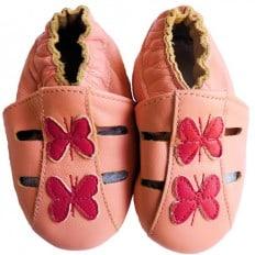 Krabbelschuhe Babyschuhe geschmeidiges Leder - Mädchen | Rosa Schmetterling