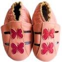 Chausson bébé cuir souple | Papillon rose