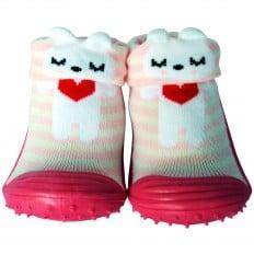 Chaussons-chaussettes enfant antidérapants semelle souple | Petit coeur rouge