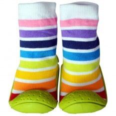 Chaussons-chaussettes enfant antidérapants semelle souple | Rayés blanc