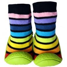 Calcetines con suela antideslizante para niños   Rayados negros