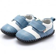YXY - Zapatos de bebe primeros pasos de cuero niños | Blanco y azul