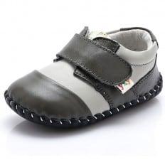 YXY - Krabbelschuhe Babyschuhe Leder - Jungen | Weiß und grau