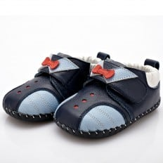 YXY - Krabbelschuhe Babyschuhe Leder - Jungen | Marineblau roter Knoten