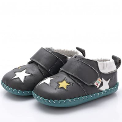 YXY - Chaussures premiers pas cuir souple | Grises avec étoiles