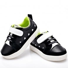 YXY - Soft sole boys Toddler kids baby shoes | Black sneakers white strip