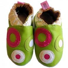 Zapitillas de bebe de cuero suave niñas antideslizante | Verde con círculos
