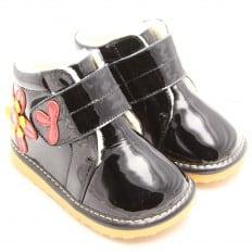 FREYCOO - Zapatos de cuero chirriantes - squeaky shoes niñas | Flor rojo negro