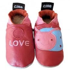 Zapitillas de bebe de cuero suave niñas antideslizante | Love