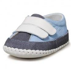 Little Blue Lamb - Zapatos de bebe primeros pasos de cuero niños | Zapatillas de deporte azul claro con gris