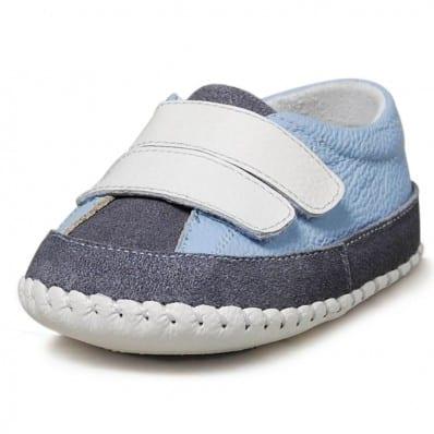 Little Blue Lamb - Chaussures premiers pas bébé en cuir souple | Baskets bleu clair et gris