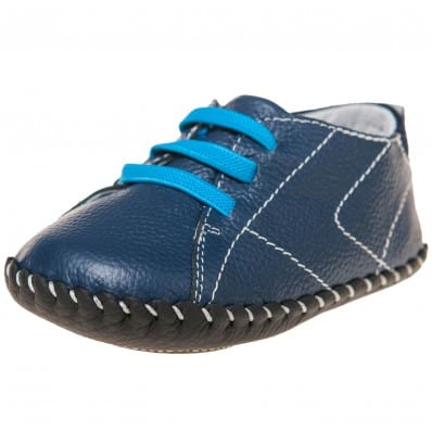 Little Blue Lamb - Baby boys first steps soft leather shoes | Blue sneakers blue laces