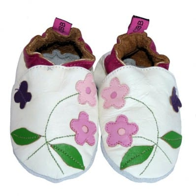 Soft leather baby shoes girls | Small pink flowers