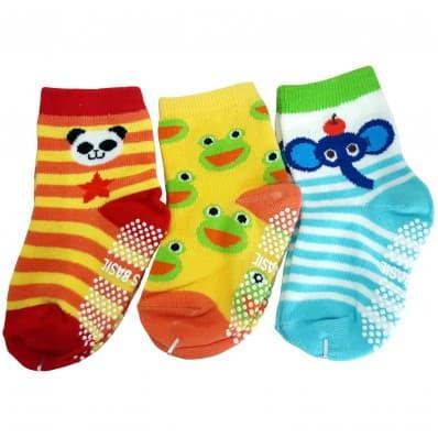 3 paia di calzini antisdrucciolo bambino di 1 a 3 anni | Ragazzo 38