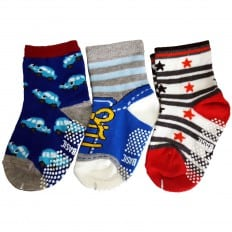 3 paia di calzini antisdrucciolo bambino di 1 a 3 anni | Ragazzo 1