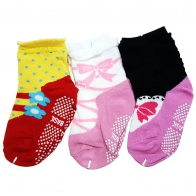 3 pairs of girls anti slip baby socks children from 1 to 3 years old | item 27