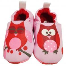 Chaussons bébé enfant toile et tissu | Hibou