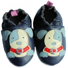 Soft leather baby shoes boys | Blue dog