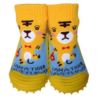 Chaussons-chaussettes enfant antidérapants semelle souple | Tigre jaune