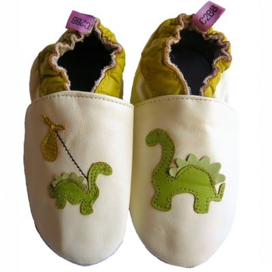 Soft leather baby shoes boys | Dino white