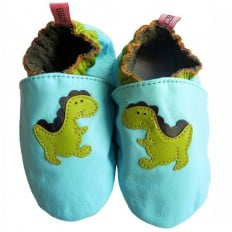 Soft leather baby shoes boys | Dino blue