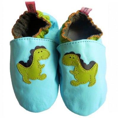Chausson bébé cuir souple | Dinosaure Bleu