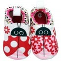 Soft cotton baby girls shoes | Ladybird and flowers
