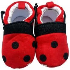 Chaussons bébé enfant toile et tissu | Rouge à pois noir