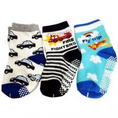 3 paia di calzini antisdrucciolo bambino di 1 a 3 anni | Ragazzo 37