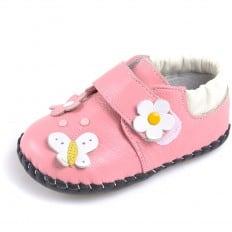 CAROCH - Chaussures premiers pas cuir souple   Babies rose fleurs couleurs