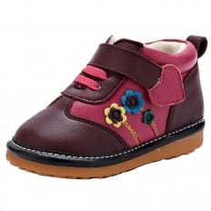 YXY - Zapatos de cuero chirriantes - squeaky shoes niñas | Fushia con flores