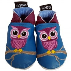 Soft leather baby shoes girls | Blue owl
