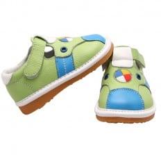 FREYCOO - Zapatos de cuero chirriantes - squeaky shoes niños | Sandalias verde y azul