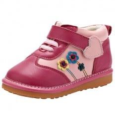 YXY - Zapatos de cuero chirriantes - squeaky shoes niñas | Rosa con flores
