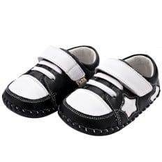 YXY - Krabbelschuhe Babyschuhe Leder - Jungen | Schwarz mit weißem Stern
