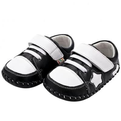 YXY - Zapatos de bebe primeros pasos de cuero niños | Negra con estrella blanca