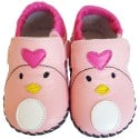 FREYCOO - Baby girls first steps soft leather shoes | Pink shoes miss heart