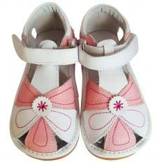 FREYCOO - Krabbelschuhe Babyschuhe squeaky Leder - Mädchen |  Pink und weiß sandalen