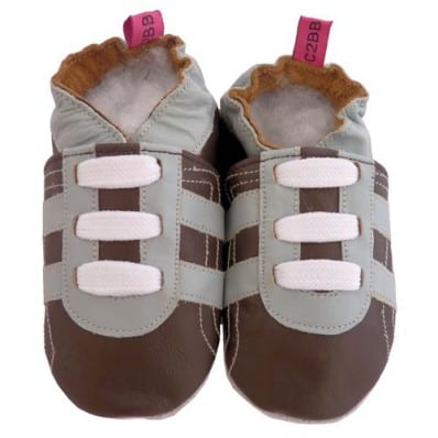 Soft leather baby shoes boys | Brown sneakers