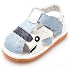 YXY - Scarpine bimba primi passi con fischietto | Sandali blu e bianco