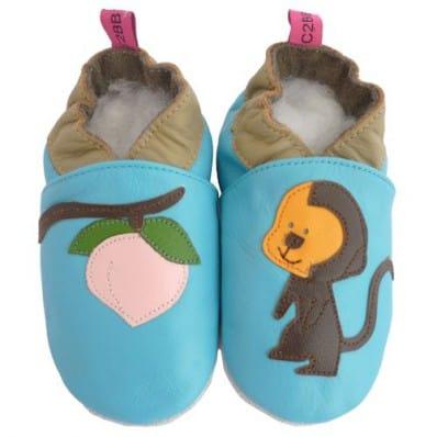 Chaussons bebe cuir souple | Petit singe