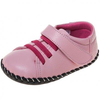 Little Blue Lamb - Scarpine primi passi bimba in morbida pelle | Sneakers fucsia lacci rosa